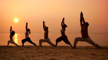 Yoga Cl On The Beach In Goa